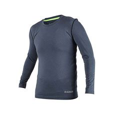 【FIRESTAR】男機能緊身長袖上衣-長T T恤 訓練 慢跑 路跑 墨灰