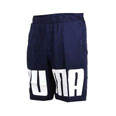 【PUMA】男短風褲-防風 慢跑 路跑 藍白S