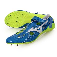 【MIZUNO】CHRONO INX 9 日製男田徑釘鞋-競賽 短距離 美津濃 藍白螢光綠