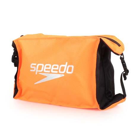 【SPEEDO】POOL SIDE BAG 輕量防潑水收納包-5L 游泳 手拿包 手提包 亮橘黑