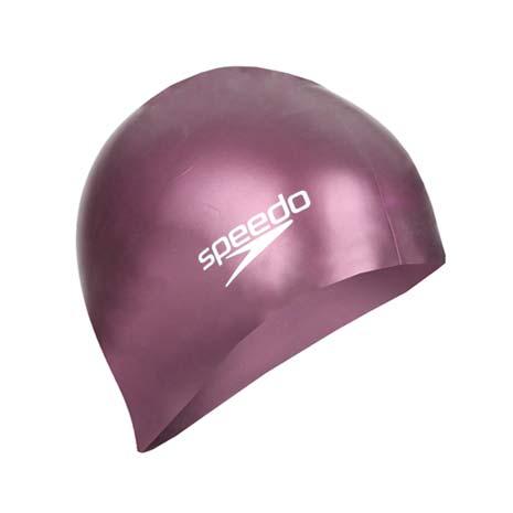 【SPEEDO】PLAIN MOULDED 成人矽膠泳帽-游泳 戲水 海邊 沙灘 紫