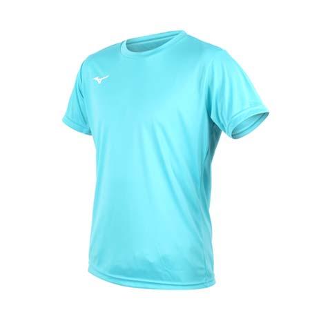 【MIZUNO】男排球短袖T恤-慢跑 美津濃 短T 湖水藍白