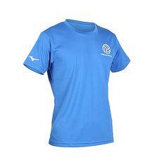 【MIZUNO】男排球短袖T恤-短T 慢跑 美津濃 藍白