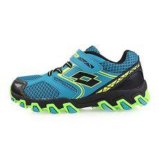 【LOTTO】男兒童防潑水越野跑鞋-慢跑 路跑 登山 湖水藍黃黑