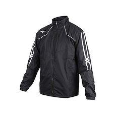 【MIZUNO】男防潑水保暖外套-美津濃 慢跑 路跑 立領外套 黑白紅