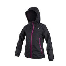 【MIZUNO】女防潑水連帽外套-美津濃 慢跑 路跑 黑紫白