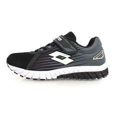 【LOTTO】男女童疾速輕量跑鞋-魔鬼氈 童鞋 慢跑 路跑 黑灰白