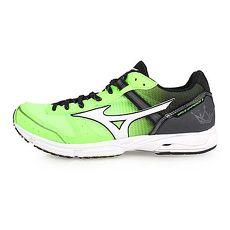 【MIZUNO】WAVE EMPEROR 3 皇速-男路跑鞋-美津濃 慢跑 螢光綠黑白