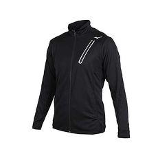 【MIZUNO】男針織運動外套-美津濃 慢跑 路跑 立領外套 黑銀