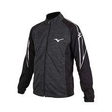 【MIZUNO】男針織運動外套-立領外套 防曬 長袖上衣 美津濃 灰黑銀