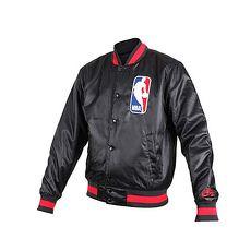 【NIKE】男NBA防風棒球外套-風衣外套 籃球 保暖外套 鋪棉 黑紅