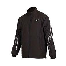 【MIZUNO】男平織運動外套-立領外套 防潑 美津濃 黑銀白