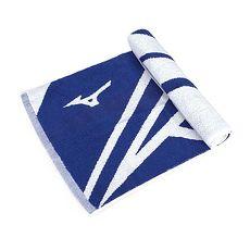 【MIZUNO】SWIM 緹花運動毛巾-一只入 海邊 浴巾 游泳 戲水 慢跑 路跑 藍白