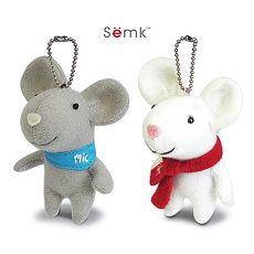 【Luft Mic】MIC老鼠 流行吊飾/耳機塞 白/灰  +【經典卡通人物】超細纖維手機擦拭袋(隨機)