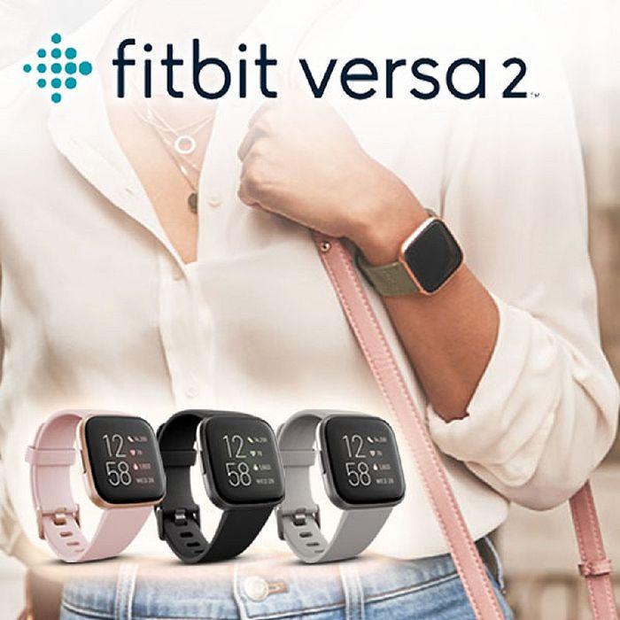 【新品上市】FITBIT VERSA 2 智能運動手錶 運動手環 智慧手環 台灣群光公司貨碳黑框黑色錶帶