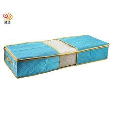 月陽80X40竹炭彩色透明視窗床下棉被衣物收納袋整理箱超值2入(C70LX2)藍色