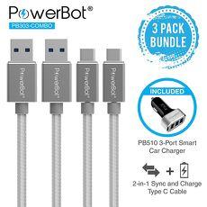 美國聲霸PowerBot PB303 USB 3.1 Type-C 轉 USB 3.0 TYPE-A 高速傳輸充電線 + PB510 3埠USB車用充電器 5.1A (2充電線 + 1充電器)
