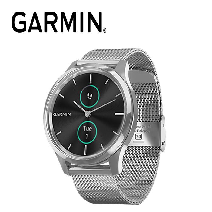 GARMIN vivomove Luxe 指針智慧腕錶 -米蘭式編織款錶帶-永恆極地銀:010-02241-53