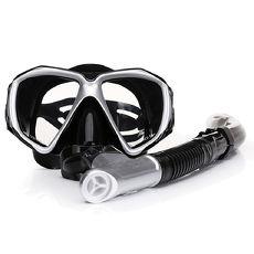 【韓國熱銷】強化抗霧玻璃潛水精品組/潛水鏡/呼吸管/浮潛/衝浪(五色任選)白色