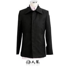 【男人幫】腰身版型頹廢風格休閒黑色素面排扣西裝外套(C5311)