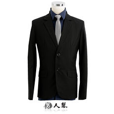 【男人幫】韓版修身顯瘦經典黑色格紋窄版雙扣西裝外套 紳士雅痞款(C5320)
