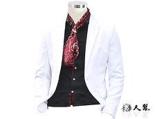 【男人幫】韓風輕熟男窄版白色單扣西裝外套(C5322)