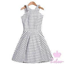 【Zoboo】格纹绕颈小洋装小礼服晚宴服心机洋装(Q5004)