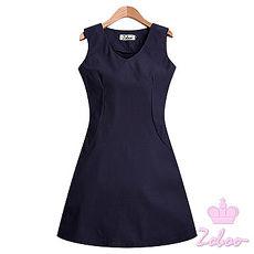 【Zoboo】V领无袖伞摆连身裙小礼服,晚宴服,心机洋装(Q5006)