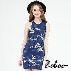 【Zoboo】露背堤花直筒洋装合身小礼服,晚宴服,心机洋装(Q5007) 蓝色