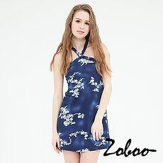 【Zoboo】削背繞頸堤花貼身連身裙修身洋裝小禮服,晚宴服,心機洋裝(Q5018) 藍色