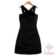 【Zoboo】闪饰绕颈直筒洋装,修身洋装小礼服,晚宴服,心机洋装(Q5019) 黑色 衣服下摆有开叉