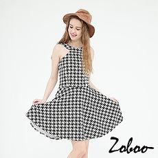 【Zoboo】千鸟格纹露肩修身洋装,小礼服,晚宴服,心机洋装(Q5031) 千鸟格纹