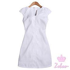 【Zoboo】深V领名缓气质素面修身洋装,小礼服,晚宴服,心机洋装(Q5034)