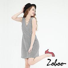 【Zoboo】简约V领无袖千鸟格纹修身洋装,小礼服,晚宴服,心机洋装(Q5036)千鸟格纹