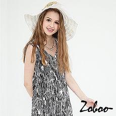 【Zoboo】简约V领无袖不规则图案修身洋装,小礼服,晚宴服,心机洋装(Q5037)千鸟格纹