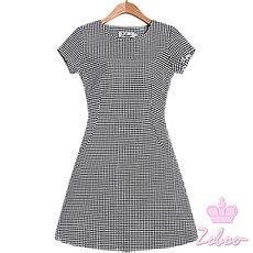【Zoboo】千鸟格纹小圆领素面修身洋装,小礼服,晚宴服,心机洋装(Q5038) 千鸟格纹