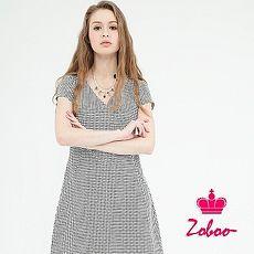 【Zoboo】细千岛纹V领连身裙(Q5049)