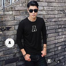 【男人幫】T5693MIT 台灣製造 字母A美式貼布立體刷毛圖案純棉長袖T恤 情侶TT5693