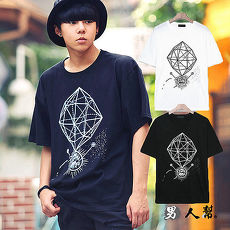 【男人幫】韓國夜空星星不規則塗鴉T恤黑色M
