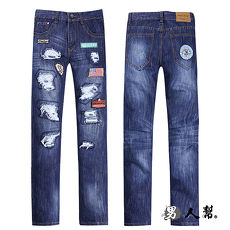 【男人幫】韓國同步流行 刷破款窄版布標破壞中直筒小直筒牛仔褲潮流(K0389)