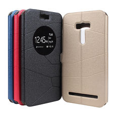 【Myshell】ASUS Zenfone Selfie 來電顯示隱磁可立皮套金