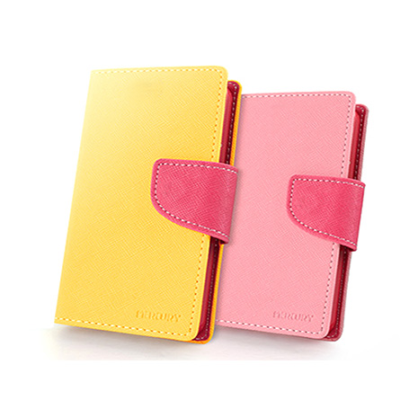 MERCURY Samsung Note 10.1 2014版 花樣日記 撞色皮套黃色