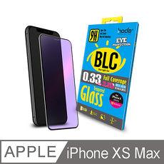 【hoda】iPhone Xs Max (6.5吋) 2.5D隱形滿版 0.33mm 抗藍光玻璃保護貼