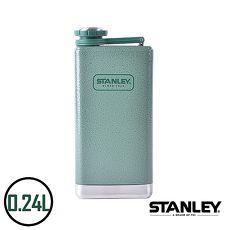 【美國Stanley】不鏽鋼保溫瓶/SS Flask經典酒壺 0.24L錘紋綠