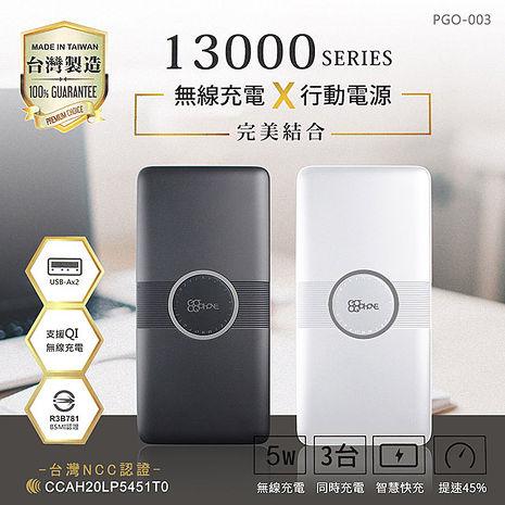 GOGOPhone 13000 Qi無線充電行動電源 台灣製造(三輸出 二輸入)白色
