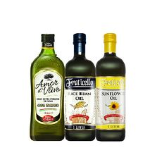 AMOR 初榨橄欖油+帆聖西歐 玄米油+葵花油 特價組( 1000mlx3瓶)