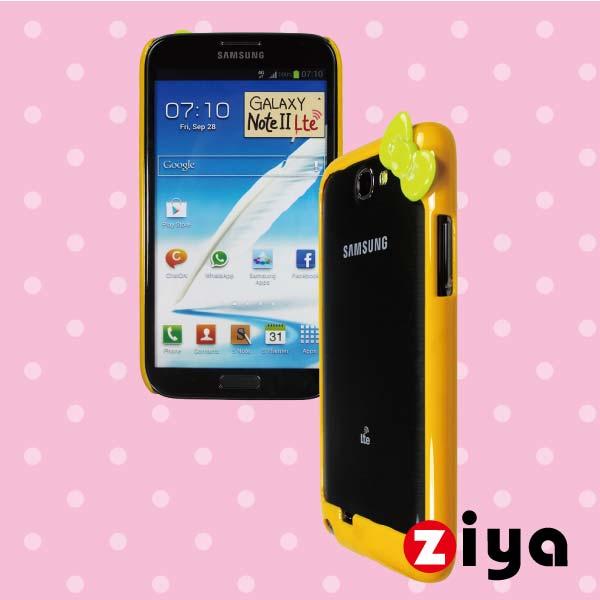 ZIYA Samsung Galaxy Note 2 N7100 炫彩蝴蝶結雙色邊框 - 絢麗黃