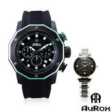 (1+1優惠組) AuRox歐銳時 城市菁英三眼計時不銹鋼石英錶AR295+都會雅漾陶瓷女錶AR0524男錶-紅+女錶-黑