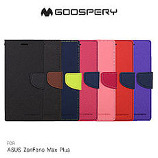 GOOSPERY ASUS ZenFone Max Plus ZB570TL FANCY 雙色皮套黑黑