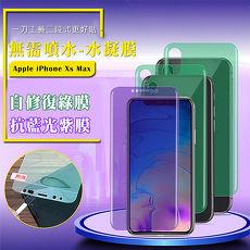 QinD Apple iPhone Xs Max 抗藍光水凝膜(前紫膜+後綠膜)